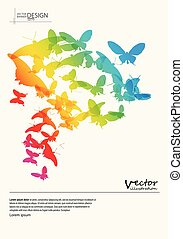 Abstract colour background with butterfly shapes.
