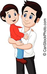 Cartoon father and son playing together