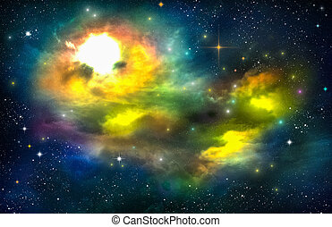 Universe filled with star, nebula and galaxy. Space Dance...