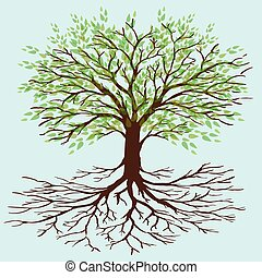 tree of life - A tree with green leafs and roots