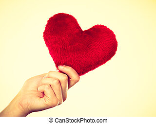 Person holding small furry heart, valentine gift - Valentine...