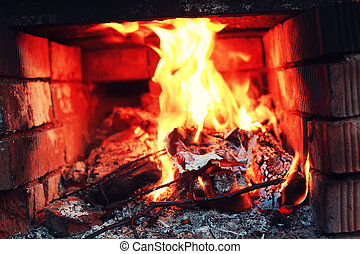 old oven with flame fire - bright flame of burning fire in...