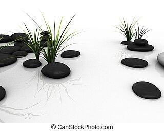 wellness - 3d rendered illustration of black stones between...