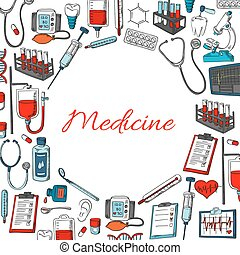 Medicine poster of vector medical items