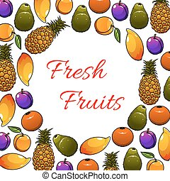 Fresh tropical fruits vector poster - Poster with fruits in...