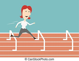 Business woman running and overcoming barriers - Woman...