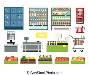 Set of Supermarket Furniture and Equipment Vector. - Set of...