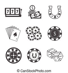 Set of Gambling Accessories Vector Illustrations. - Set of...