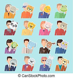 Set of People with Animal Masks Flat Design Vector - Set of...
