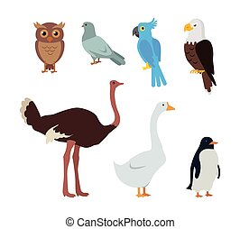 Owl Dove Blue Parrot Eagle Ostrich Goose Penguin - Set of...