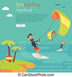 Kitesurfing Festival Banner. Style of Kiteboarding - Kite...