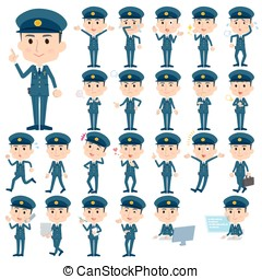 police men - Set of various poses of police men character...