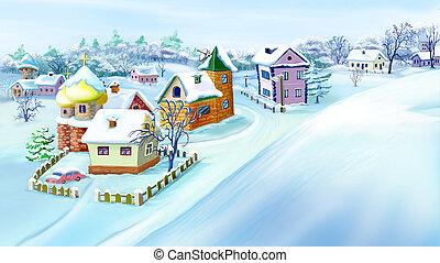 Eastern Europe Traditional Village in Winter. - Eastern...