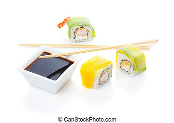 Japanese cuisine. Sushi roll with avocado, mango and shrimp...