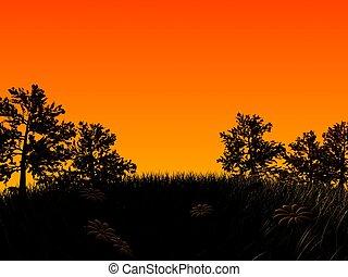 landscape illustration - 3d rendered illustration of trees...