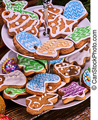 Christmas cookies on Tiered Cookie Stand. - Christmas...