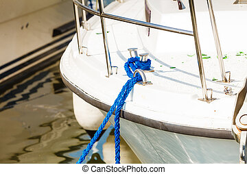 Tied blue sailing rope on white boat - Sailing, yachting,...