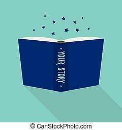 Open book. Concept of autobiography. Your story - Open book....