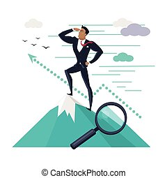 Businessman Standing on Top of Mountain - Businessman...