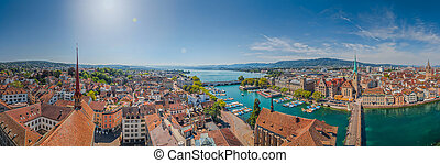 Famous Fraumunster Church and river Limmat at Lake Zurich,...