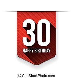Thirty years happy birthday ribbon