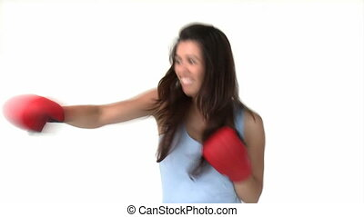 Athletic asian woman with boxing gl