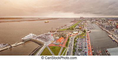 Aerial view of famous Havenwelten and hanseatic city...