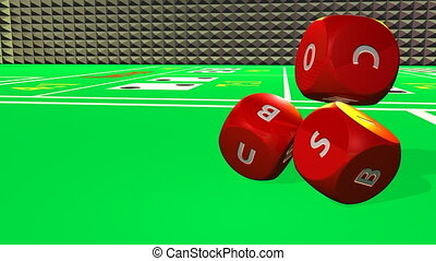 Rolling red dices against a table