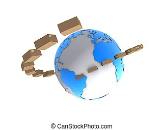 packages - 3d rendered illustration of boxes around a globe