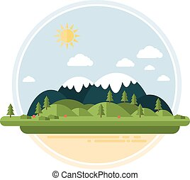 Flat Hilly Landsacape - Flat Hilly Landscape Vector Card