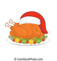 Christmas turkey in Santa Claus cap. Roast fowl on plate with vegetables. Fried chicken in festive red hat. holiday food for new year
