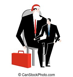 Manager sitting on lap of boss. leader Santa Claus congratulates employee. Congratulations workers. Celebration at work. Office Christmas. Corporate new year.
