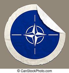 NATO flag on a paper label - NATO flag symbol on a paper...