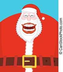 Chortle Santa Claus. Broad smile. large mouth. Merry...