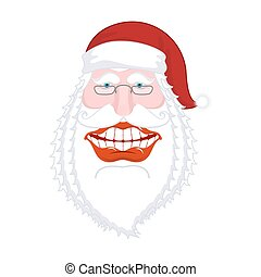 Merry Santa Claus nicker. Broad smile. large mouth. Merry...