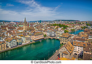 Zurich city center with river Limmat from Grossmunster...