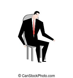 Businessman on chair. Boss in stool. Manager sitting on pew