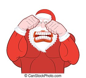 Santa Claus fights. Father Christmas beats fists. Old man...