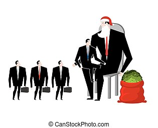 Christmas bonus. Boss Santa Claus congratulates workers. Red bag with money. Christmas in office. New Year at work. Good Director and Managers