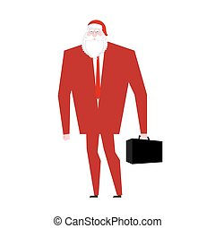 Boss Santa Claus False beard and red cap. Businessman in festive mask. Man in business suit with suitcase. Christmas in office. corporate New Year at work