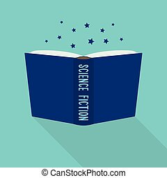 Book icon. Concept of science fiction genre - Open book...
