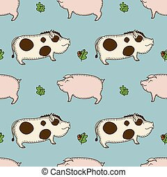 simple seamless vector pattern with pig, boar and oak twig on a blue background