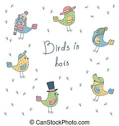 set of 6 fanny birds in different hats - set of 6 color...