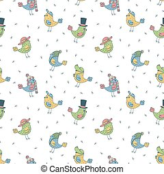 pattern of 6 fanny birds in different hats - pattern of 6...