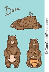 illustration of bear in different pose.