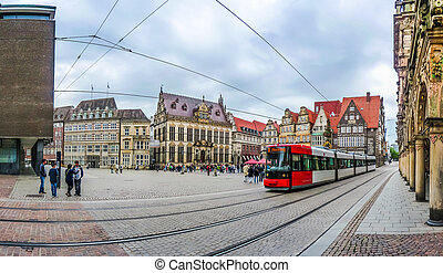 Famous Bremen Market Square with tramway in Bremen, Germany...