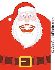 Joyful Santa Claus Laughs. Broad smile and belt. large...
