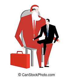Office Christmas. Manager sitting on lap of boss. Santa Claus congratulates employee. Congratulations workers. Celebration at work. Corporate new year.