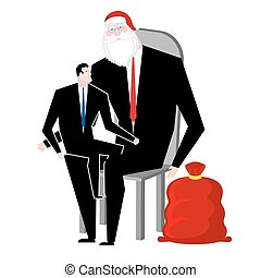 Santa Claus congratulates employee. Manager sitting on lap of boss. Congratulations workers. Celebration at work. Office Christmas. Corporate new year.