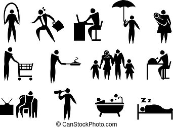 Icon of man doing his daily routine. Vector illustration.